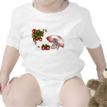 Sweet little mouse with umbrella and strawberries tees