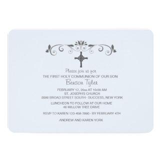 "Sweet Little One Blue Religious Invitation 5"" X 7"" Invitation Card"