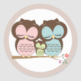 Sweet Little Owl Family on a Branch Classic Round Sticker