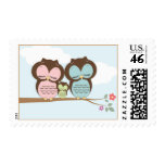 Sweet Little Owl Family on a Branch Postage Stamps