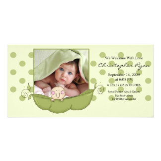 Sweet Little Pea Baby Boy Birth Annoucement Card