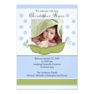 Sweet Little Pea Baby Boy Photo Announcement Card