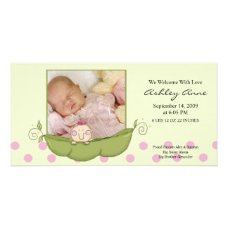 Sweet Little Pea Baby Girl Birth Annoucement Card