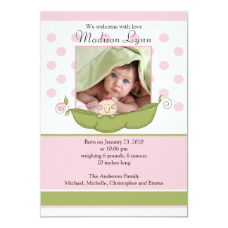 "Sweet Little Pea Baby Girl Photo Announcement Card 5"" X 7"" Invitation Card"