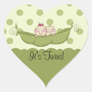 Sweet Little Pea Baby Twins Heart Sticker