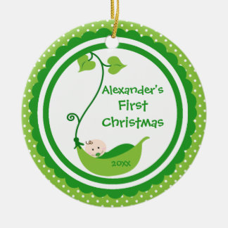 Sweet Little Pea Baby's First Christmas Ornament