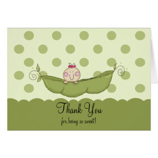 Sweet Little Pea Girl Thank You Note Card
