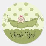 Sweet Little Pea Girl Thank You Sticker