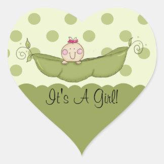 Sweet Little Pea It's A Girl Heart Sticker