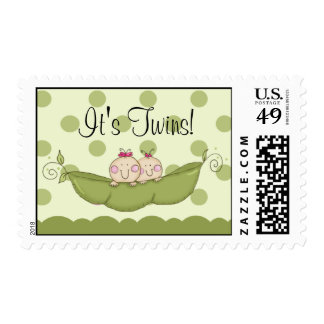 Sweet Little Pea Pod It's Twins Baby Shower Postage Stamp