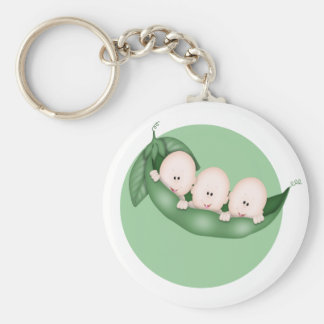 Sweet Little Pea Triplets Basic Round Button Keychain