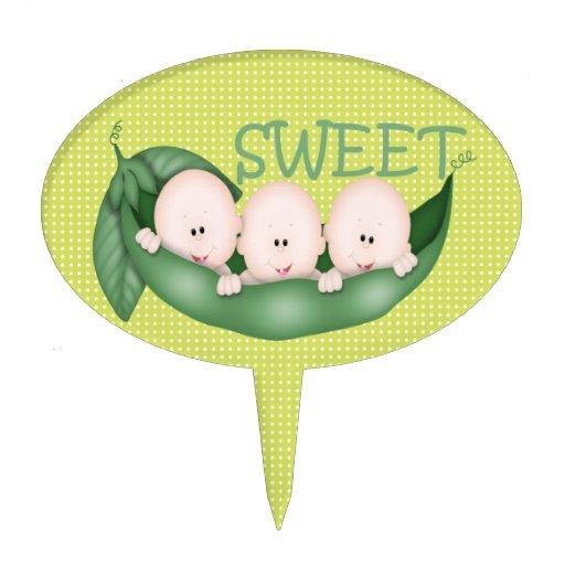 Sweet Little Pea Triplets Cake Pick