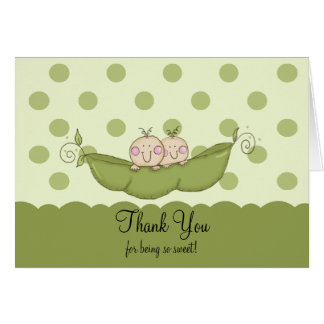 Sweet Little Pea Twin Boys Thank You Note Card