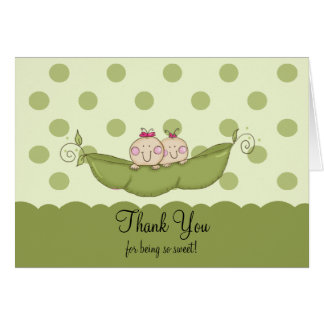 Sweet Little Pea Twin Girls Thank You Note Card