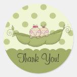 Sweet Little Pea Twins Thank You Sticker