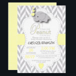 "Sweet Little Peanut Elephant Baby Shower - Custom Invitation<br><div class=""desc"">***** 5 Star Review ***** Custom Order - Baby Shower Invitation. Featuring a gray chevron pattern with yellow and white polka dots and a cute adorable cartoon baby girl elephant. Impress your guest with this darling invitation. 100% Customize-able. Ready to fill in the box(es) or Click on the CUSTOMIZE IT...</div>"