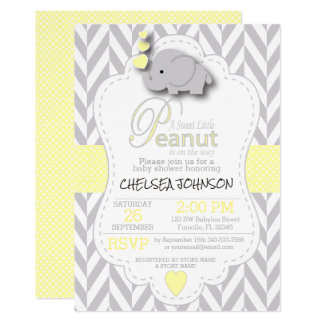Sweet Little Peanut Elephant Baby Shower - Custom Invitation