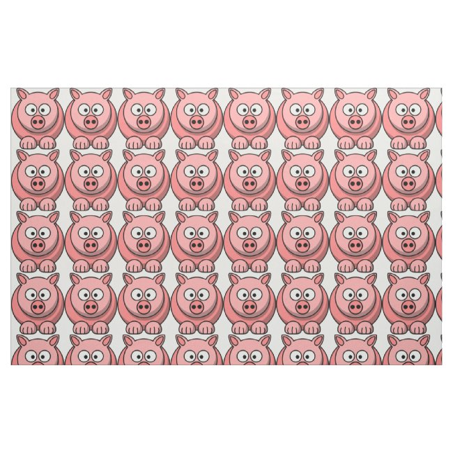 Sweet Little Pink Pigs Pattern Fabric