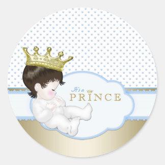 Sweet Little Prince Baby Shower Classic Round Sticker