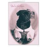 Sweet Little Pug Valentine's Day Greeting Card