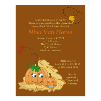 Sweet little Pumpkin Fall Baby Shower Invitation Postcard