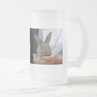 sweet little rabbit frosted glass beer mug