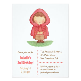 Sweet Little Red Riding Hood Girls Birthday Party Card