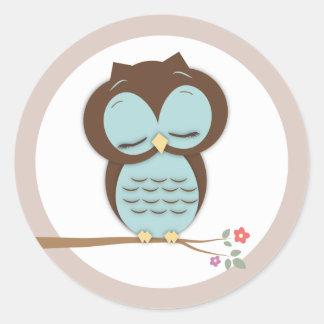 Sweet Little Sleepy Boy Owl on a Branch Classic Round Sticker