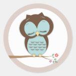 Sweet Little Sleepy Boy Owl on a Branch Stickers