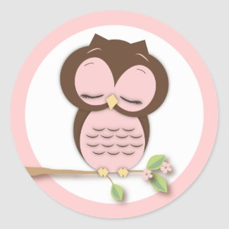 Sweet Little Sleepy Girl Owl on a Branch