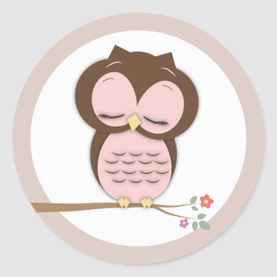 Sweet Little Sleepy Girl Owl on a Branch Classic Round Sticker