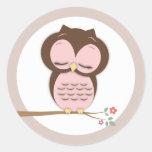 Sweet Little Sleepy Girl Owl on a Branch Classic Round Sticker