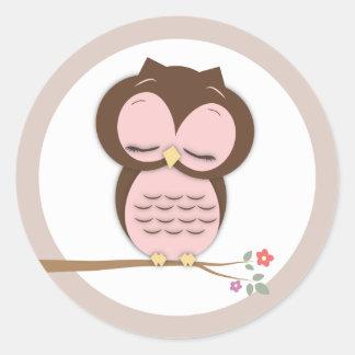 Sweet Little Sleepy Girl Owl on a Branch Stickers