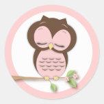 Sweet Little Sleepy Girl Owl on a Branch Sticker