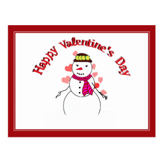 Sweet Little Snow Girl - Happy Valentine's Day Post Cards