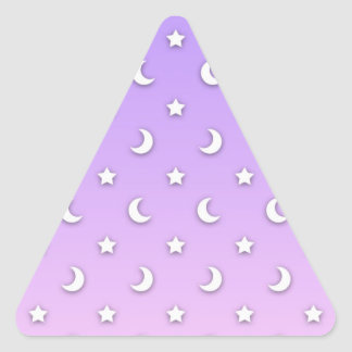 Sweet Little Stars and Moons Pattern Triangle Sticker