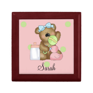 Sweet Little Teddy Bear-Personalize Name Keepsake Box