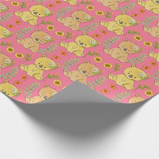 Sweet Little Teddy Bears and Flowers Wrapping Paper