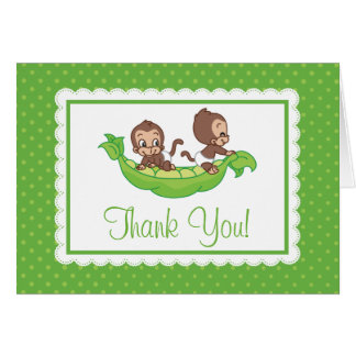 Sweet Little Twins Monkey Pea Pod Thank You Card