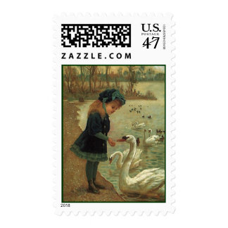 SWEET LITTLE VICTORIAN MISS BIRD-SEED MAIL STAMPS! POSTAGE
