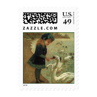 SWEET LITTLE VICTORIAN MISS BIRD-SEED MAIL STAMPS!