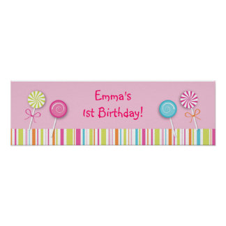 Sweet Lollipop Candy Baby Shower Banner Sign