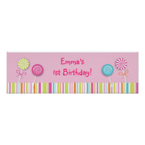 Sweet Lollipop Candy Baby Shower Banner Sign Poster
