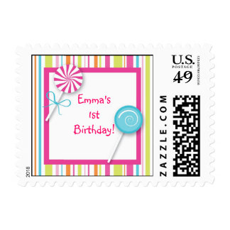 Sweet Lollipop Candy Girl Postage Stamps