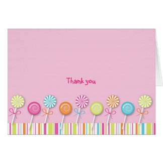 Sweet Lollipop Candy Thank You Note Cards