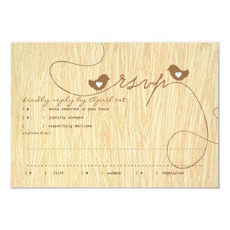 Sweet Love Birds on Woodgrain Response Card