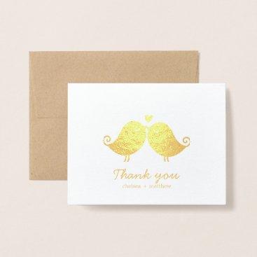 Beach Themed Sweet Love Birds Wedding Photo Thank You Foil Card