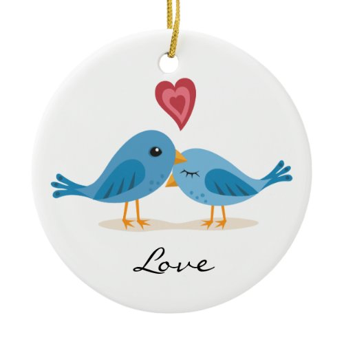 Sweet love birds with heart ornament ornament