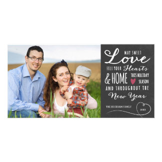 Sweet Love Chalkboard Holiday Photo Card