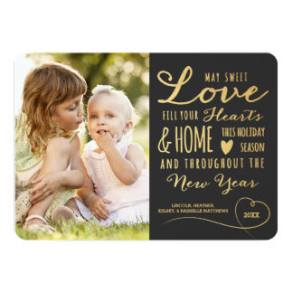 Sweet Love Gold Type Holiday Photo Card / Gray